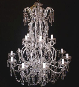 Elegant Tiered 12 Light Chandelier With Crystal Drop Features.