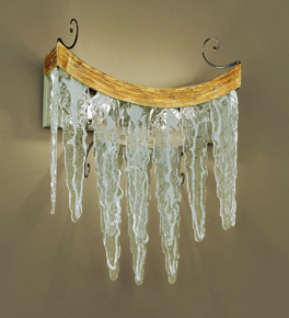 Stalattite Design Wall Lamp with Ice Effect Glass