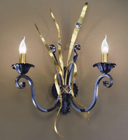 Fiamme Design Black Frame wall lamp with gold details