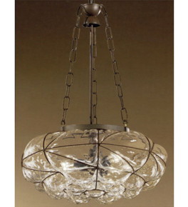 Soffiati design iron frame chandelier with blown glass inside