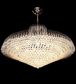 Surface mounted 28 light cone shaped crystal chandelier
