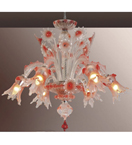 Murano Tinted Glass 6 Light Venetian Style Floral Chandelier