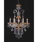Murano Glass Crystal Drop 6 Light Chandelier.