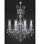 Murano Crystal Drop Glass 8 Light Antique Chandelier.
