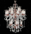 Murano Glass 30 Light Neoclassical Antique Tiered Chandelier.