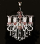 Antique Murano Glass Crystal Drop 8 Light Chandelier.