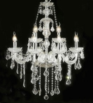 Antique Crystal Drop Glass 8 Light Hale Chandelier.