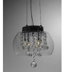 Glass Crystal Drop 4 Light Pendant Chandelier.