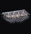 21 Light Crystal Drop Flush Fitting Chandelier