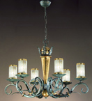 Impero Design Chandelier With Sinuous Arms And Blown Glass