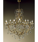 Gold Leaf Frame Settecento Design Chandelier with 12 Lights