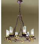 Gladiatore Design Chandelier Made From Hand Hammered Metal And Rings