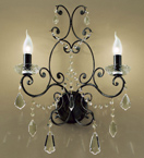 Preziosa Design Black Wall Lamp with Clear Crystal Details