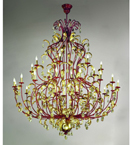 Accuracy Design Chandelier is precisely detailed with gold leaves