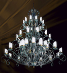 Iron frame tiered 48 light rustic chandelier