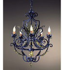 Lancia design twisted metal & gold leaf detailed chandelier