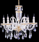 8 Light Chandelier with Hanging Crystal