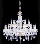 Pristine tiered 18 light crystal drop chandelier
