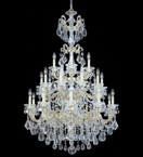 Elegant tiered bobeche & crystal drop chandelier